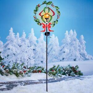 Solar Lighted Golden Gazing Ball Christmas Wreath Wind Spinner Garden Stake