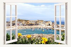3D Window Effect on Canvas St Ives Harbour Cornwall Boats Picture Wall Art Print