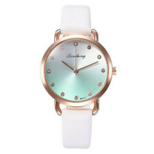 Womens Ladies Casual Watch Faux Leather Strap Belt Diamond Female Wrist Watches
