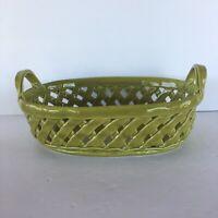 ARTIMINO Portugal Green Earthenware Woven Basket Weave Ceramic