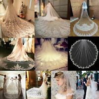White Ivory Wedding Veils Appliques Lace Bridal Veil Cathedral Elbow Length New