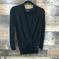 BCBG Maxazria Women's Black Crossover Drape Front Hooded Layering Sweater Top