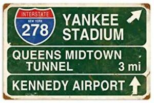 YANKEE STADIUM TIN SIGN EXIT RAMP NEW YORK BASEBALL STADIUM PITCHER HOME RUN