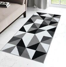 New Modern Grey Hallway Runner Short Pile Geometric Triangle Pattern Runners