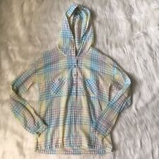 Splendid Long Sleeve Button Up Hooded  Shirt Plaid Green Yellow Size XSmall