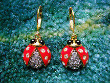 Kenneth Jay Lane Gold Crystal Ladybug Eurowire Pierced Earrings