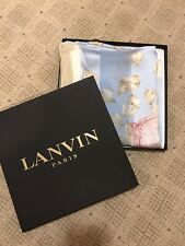 Lanvin Silk Scarf New In Box Made In Italy LIght blue woven stripe with flowers