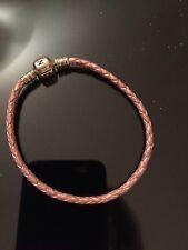 Pink Leather Braided Pandora Bracelet