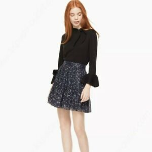 NEW Kate Spade size 10 Navy Night Sky Lurex Dot Skirt Star Metallic Silver swing