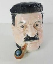 Pot à tabac ancien en faïence de Sarreguemines à l'effigie de Edouard Herriot