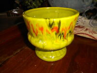 Vintage Pottery Drip Glaze Vase Green Orange marked unknown MCM Mid Century 4.5""
