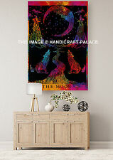 Tie Dye 3D Wolf Tapestry Decor Hippie Cotton Sun Moon Wall Hanging Indian Throw