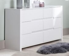 Modena Large Wide White Gloss 6 Drawer Dresser Sideboard Chest of Drawers