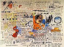 """Jean Michel Basquiat Oil Painting on Canvas """"50 Cent Piece"""" Abstract HUGE 24x32"""""""