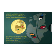 More details for 2014 lithuania baltic way 25 litas coin proof like coloured in pack