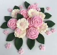Pink & Ivory Roses Bouquet Wedding Flowers Cake Decorations Edible Cake Toppers