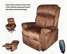 Deluxe Electric Recliner Lift Chair with Massage Brown Suede Okin German Motor
