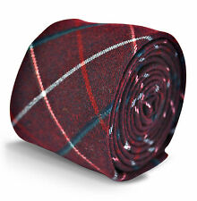 Frederick Thomas mens dark red with red and blue check wool tweed tie FT3122