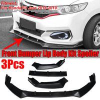 3PCS Front Bumper Lip Body Kit Spoiler Splitter For Honda Fit Jazz 2018-2019