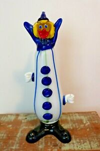 """Murano Clown Blown Glass Sculpture 31 cm High 12"""" - Made in Italy 1950's"""