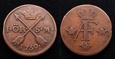 Suède 1 ORE Adolf Frederich 1759 - Cuivre
