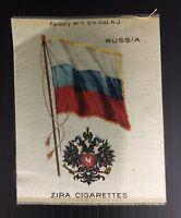 Vintage Zira Cigarettes Russia Flag Tobacco Card Silk