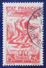 France oblitéré, n°577, 1F50 + 2F50 Travail, Secours National, 1943