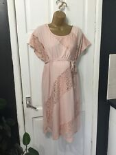 MAMA LICIOUS Maternity Dress Pink Jersey Lace Look Sections Size M New Tags