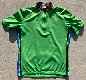 SUGOI CYCLING JERSEY - MEN'S LARGE - GREEN WITH BLACK, RED, BLUE TRIM