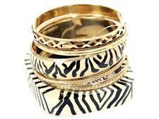 Women's Tribal Print Ivory Wooden/Metal Bangles Bracelets Set 6 Piece Bangle Set