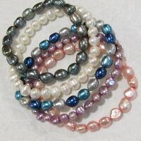 HONORA Freshwater Pearl Bracelet LOT Stretch 5 Piece Blue Violet Pink  #2
