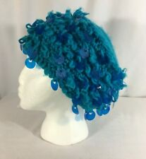 New listing Women's Vintage Crochet Beanie Hat Turquoise Blue Loops w/Round Flat Beads