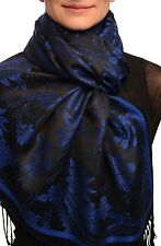 Blue Garden Flowers On Black Pashmina With Tassels (SF002523)