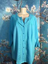 Calvin Klein Plus 1X Blue Button Textured Step Hem Long Roll Sleeve Tunic Top