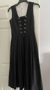 A Hillebrand Black Dirndl With Silver Lace Holders, European Size 38