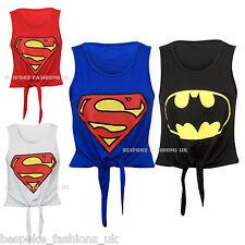 Ladies Women's Girls Super Hero Print Tie Front Cropped Summer Top Tee T-Shirt