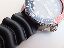 22mm Black Rubber Diver Watch Band Made For Seiko 7S26-0020 , SKX007 + 2 Pins