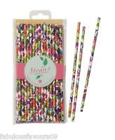 Floral Fiesta straws x 30, paper floral straws for summer parties and cocktails