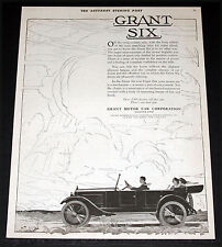 1920 OLD MAGAZINE PRINT AD, GRANT SIX TOURING CAR, ON A CROSS-COUNTRY SPIN, ART!