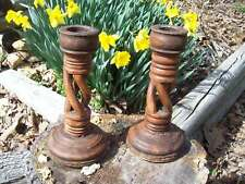 Primitive Wood Turned Candle Holder lot of 2 Hand made