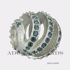 Authentic Chamilia Sterling Silver Blue Modern Glam Bead 2025-0896