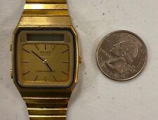 Vintage Seiko H357-5009 Mens Analog Digital Chrono Watch Hours Gold Tone Works
