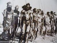 ANTIQUE VINTAGE OLD PHOTO POSTCARD ABORIGINAL MEN CORROBOREE PAINT WITH SPEARS