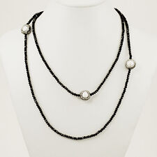 """Ny6desig Black Crystal Stretch Cord Long Evening Necklace with 3 Pearl Beads 43"""""""