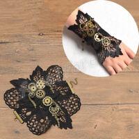 Gothic Punk Steampunk Gear Wrist Vintage Victorian Black Lace Bracelet Jewelry