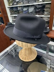 Borsalino Diplomat Style Black Fur Felt Hat Made In Italy Size 7 1/4