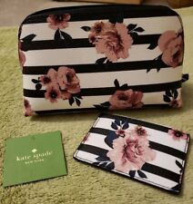 NWT Kate Spade Hyde Lane rose stripe Mini Briley with matching card holder.