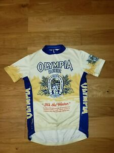 Vintage Primal Cyclist Jersey Athletic Shirt Olympia Beer Good Luck Top MEDIUM