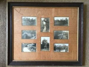 Antique Black White Photographs English Gardens And Tennis Courts Mounted Framed