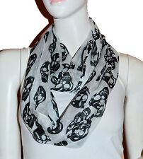 New White/Black Skull Light Weiget  X-Lgrge Infinity Scarf Loop Cowl